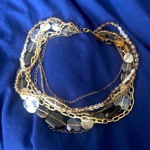 Layered gold tone and beaded necklace